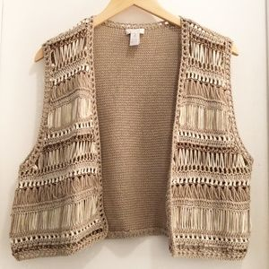 Chico's Woven Open Sweater Vest Size 2/Large